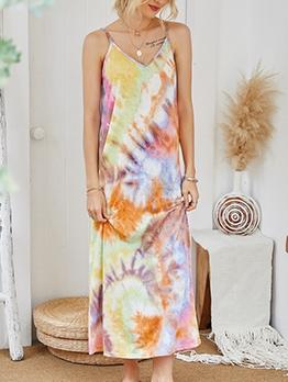 Gradient Color Tie Dye Slip Maxi Dresses