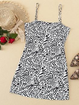Animal Print Spaghetti Strap Mini Dress For Summer
