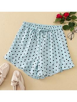 Ruffled Edge Polka Dot Drawstring Short Pants