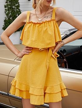 Solid Ruffled Hem Yellow Summer Dresses