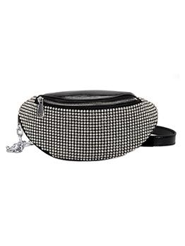 Shiny Rhinestone Thick Chain Patchwork Bum Bag