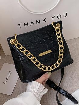 Square Shape Crocodile Print Chain Shoulder Bag