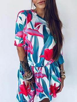 Hot Sale Flower Printed Short Sleeve Dress