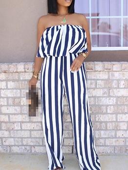 Color Patchwork Striped Off The Shoulder Jumpsuit