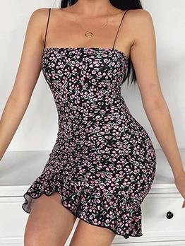 Ruffled Hem Spaghetti Strap Summer Floral Dresses