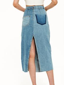 Patchwork Solid High Waisted Denim Skirt