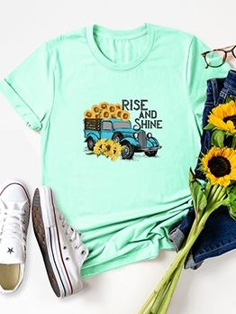 Sunflower Car Pattern Short Sleeve Oversized T Shirt
