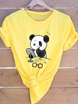 Cute Cartoon Panda Printed Cotton Cheap T Shirt