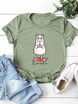 Cartoon Sheep Printing Cheap T Shirt For Women