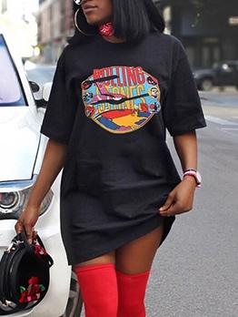 Casual Printed Short Sleeve T Shirt Dress