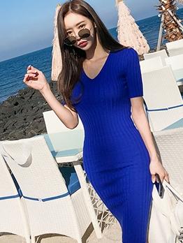 V Neck Knit Short Sleeve Dress