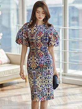 Elegant Ditsy Printed Slit Two Piece Skirt Set