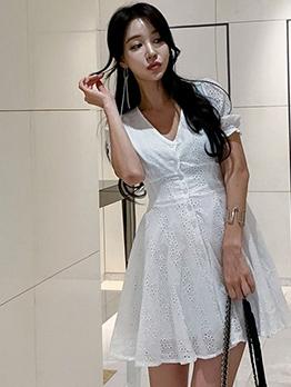 V Neck Solid White Short Sleeve Dress