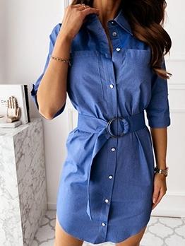 Single-Breasted Long Sleeve Denim Shirt Dress