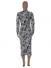 Grain Printing Long Sleeve Bodysuit With Midi Skirt