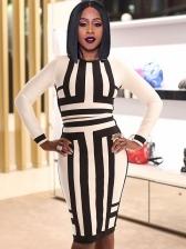Classic Black And White Stripes Skinny 2 Piece Skirt Set
