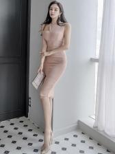 OL Style Solid Sleeveless Bodycon Dress