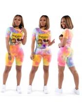 Tie Dye Cartoon Print Two Piece Outfits