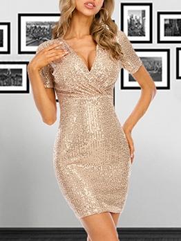 Simple v Neck Sequins Short Sleeve Dress