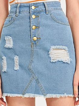 Vintage Style High Waist Destroyed Short Skirt