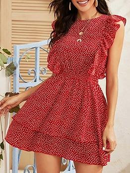 Versatile Dots Ruffled Sleeveless Summer Dresses