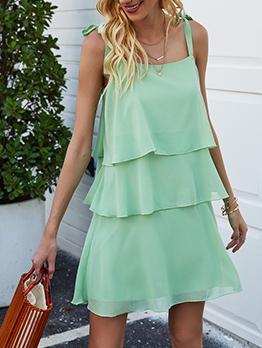 Loose Layered Ruffled Camisole Green Dress
