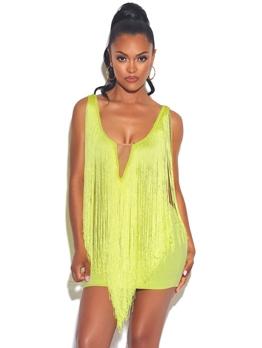 Fluorescent Yellow Thin Tassel Sleeveless Short Dress