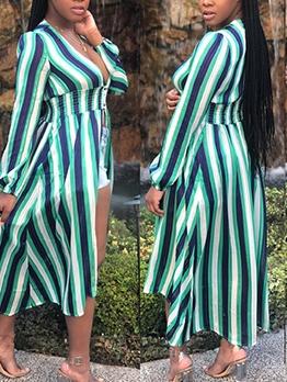 Smart Waist Long Sleeve Striped Maxi Dress