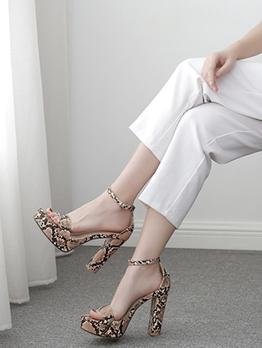 Snake Skin Printed Chunky Platform Sandals