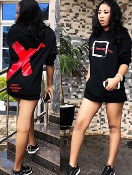 Print Long Sleeve Black Sweatshirt Casual
