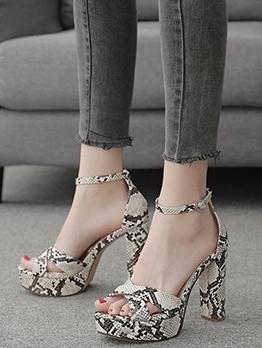Stylish Snake Skin Printed Heel Sandal