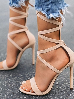 Chic Solid High Heels Lace Up Sandals