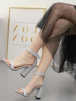 Glitter Solid Chunky Heel Designer Sandals