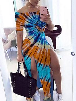 Mixed Color Tie Dye Split Hem Summer Maxi Dresses