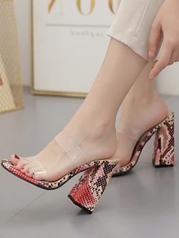 Snake Skin Printed Clear Upper Ladies Slippers