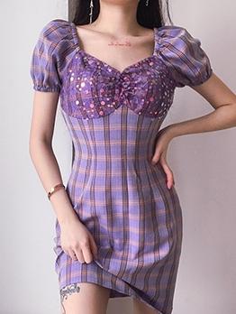 Sequin Decor Short Sleeve Purple Plaid Dress