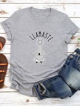 Alpaca Print Short Sleeve Cute T Shirts