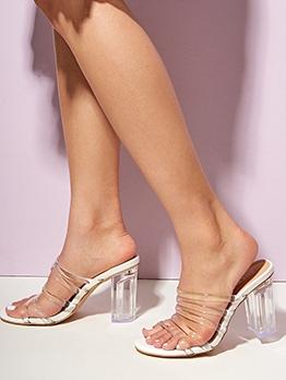 Clear Chunky Heel Open Toe Slippers