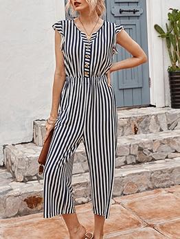 V Neck Smart Waist Striped Summer Jumpsuit