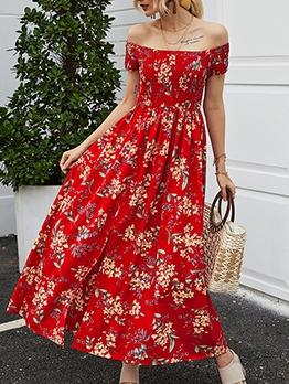 Smart Waist Floral Off The Shoulder Dress For Summer