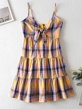 Front Bow Back Zipper Plaid Slip Dress For Women