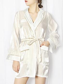 Contrast Trim Feather Decor Lapel Collar Boutique Long Coat