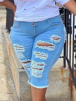 Stylish Distress Solid Plus Size Cheap Jeans