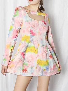 Chic Colorful Print A-line Boutique Long Sleeve Short Dress