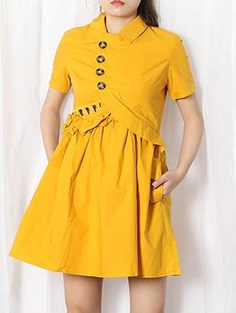 Chic Design Hollow Out Ruffles Boutique Short Sleeve Dress