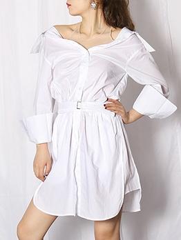 Chic Rhinestone Decor Long Sleeve Short Dress