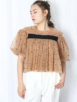 Vintage Short Sleeve Polka Dot Blouse