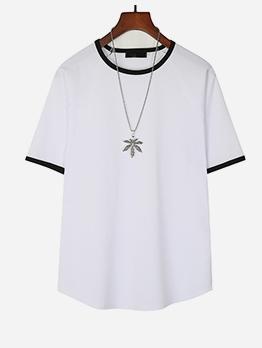 Contrast Trim Crew Neck Short Sleeve Tee Shirts