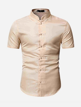 Chinese Style Stand Collar T Shirts For Men