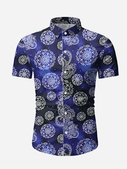 Casual Digital Print Short Sleeve Shirts For Men